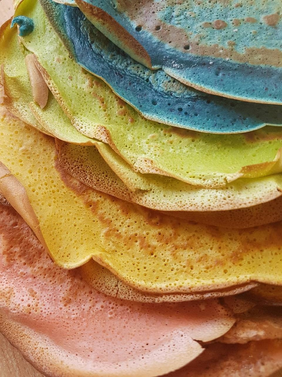 coloured pancakes