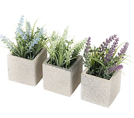 Closer2Nature Artificial 11cm Mixed Miniature Lavender Plant Collection in Decorative Pots