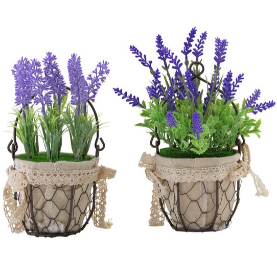 Artificial Lavender Planters - Pack of 2