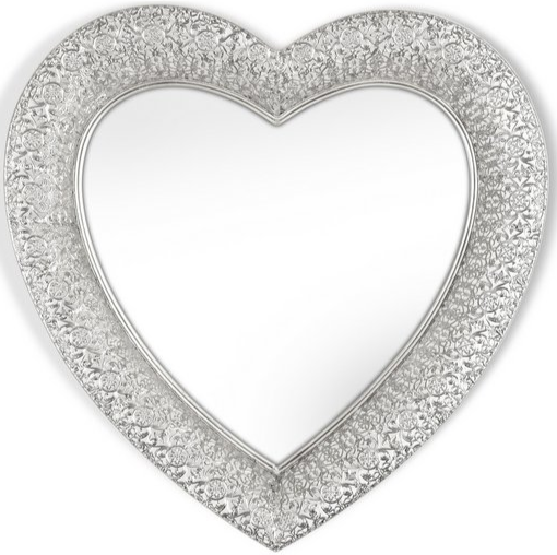 Marrakesh Heart Mirror - Silver